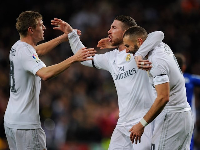 Karim Benzema celebrates with Sergio Ramos and Toni Kroos during the game between Real Madrid and Deportivo La Coruna on January 9, 2016