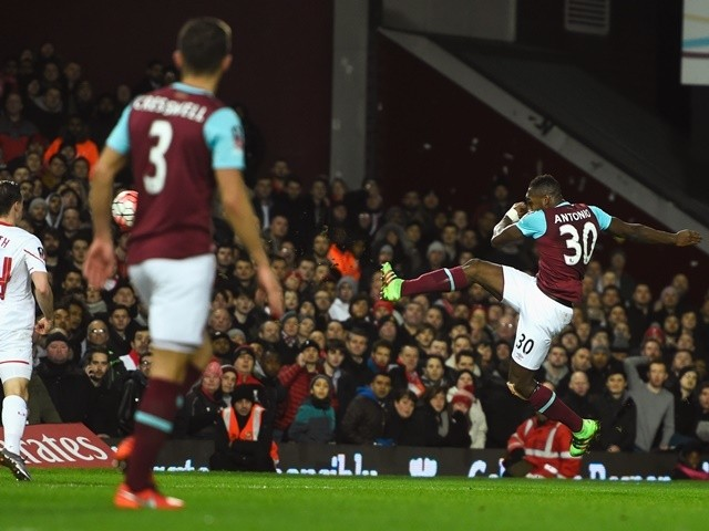Michail Antonio scores the opening goal during the FA Cup fourth-round replay between West Ham United and Liverpool on February 9, 2016