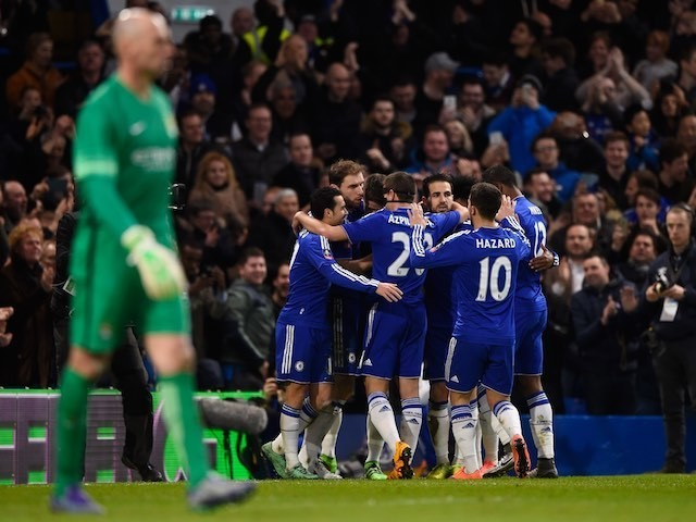 Chelsea teammates celebrate during the FA Cup game between Chelsea and Manchester City on February 20, 2016