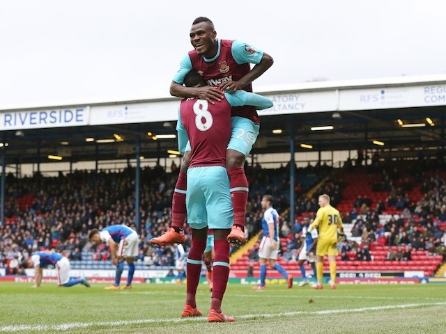 Emmanuel Emenike celebrates scoring during the FA Cup game between Blackburn Rovers and West Ham United on February 20, 2016