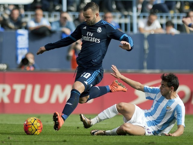 Jese and Ricardo Horta in action during the La Liga game between Malaga and Real Madrid on February 20, 2016