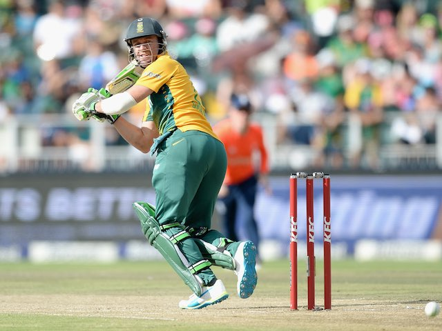 AB de Villiers in action with the bat during the second T20 between South Africa and England on February 20, 2016