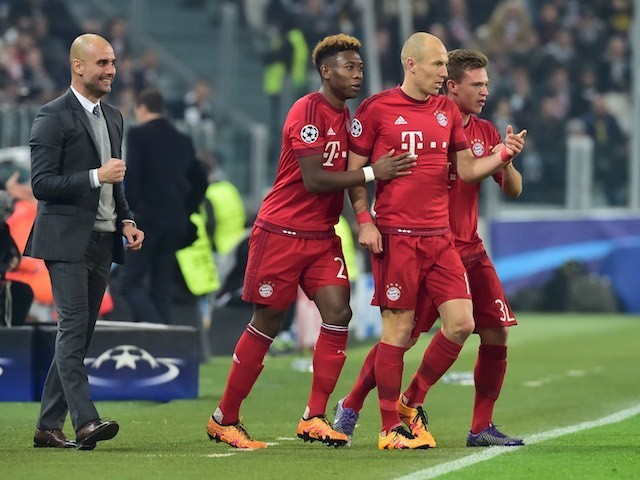 Arjen Robben celebrates during the Champions League game between Juventus and Bayern Munich on February 22, 2016
