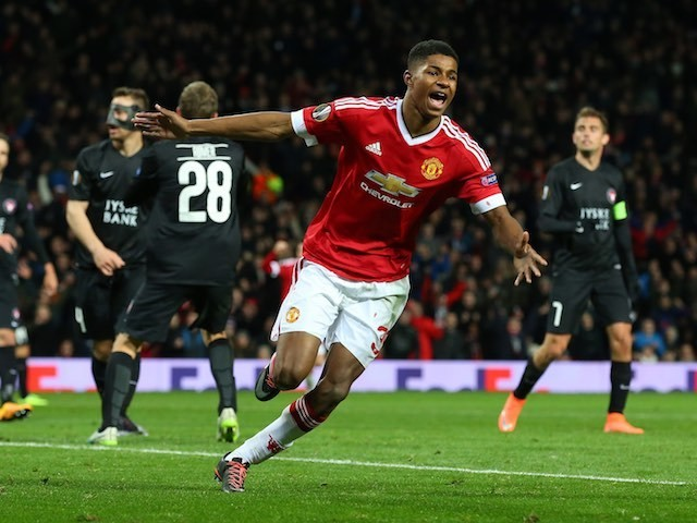 Marcus Rashford celebrates scoring the third during the Europa League game between Manchester United and FC Midtjylland on February 25, 2016