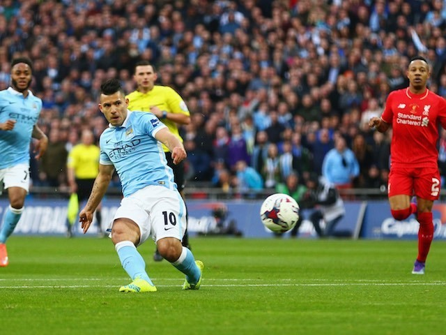 Sergio Aguero has an attempt at goal during the League Cup final between Liverpool and Manchester City on February 28, 2016