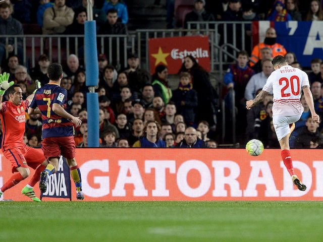 Vitolo scores during the La Liga game between Barcelona and Sevilla on February 28, 2016