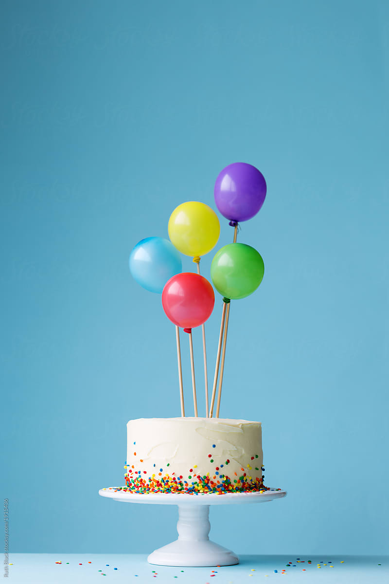 Birthday Cake Decorated With Colorful Balloons By Ruth Black Birthday Birthday Cake