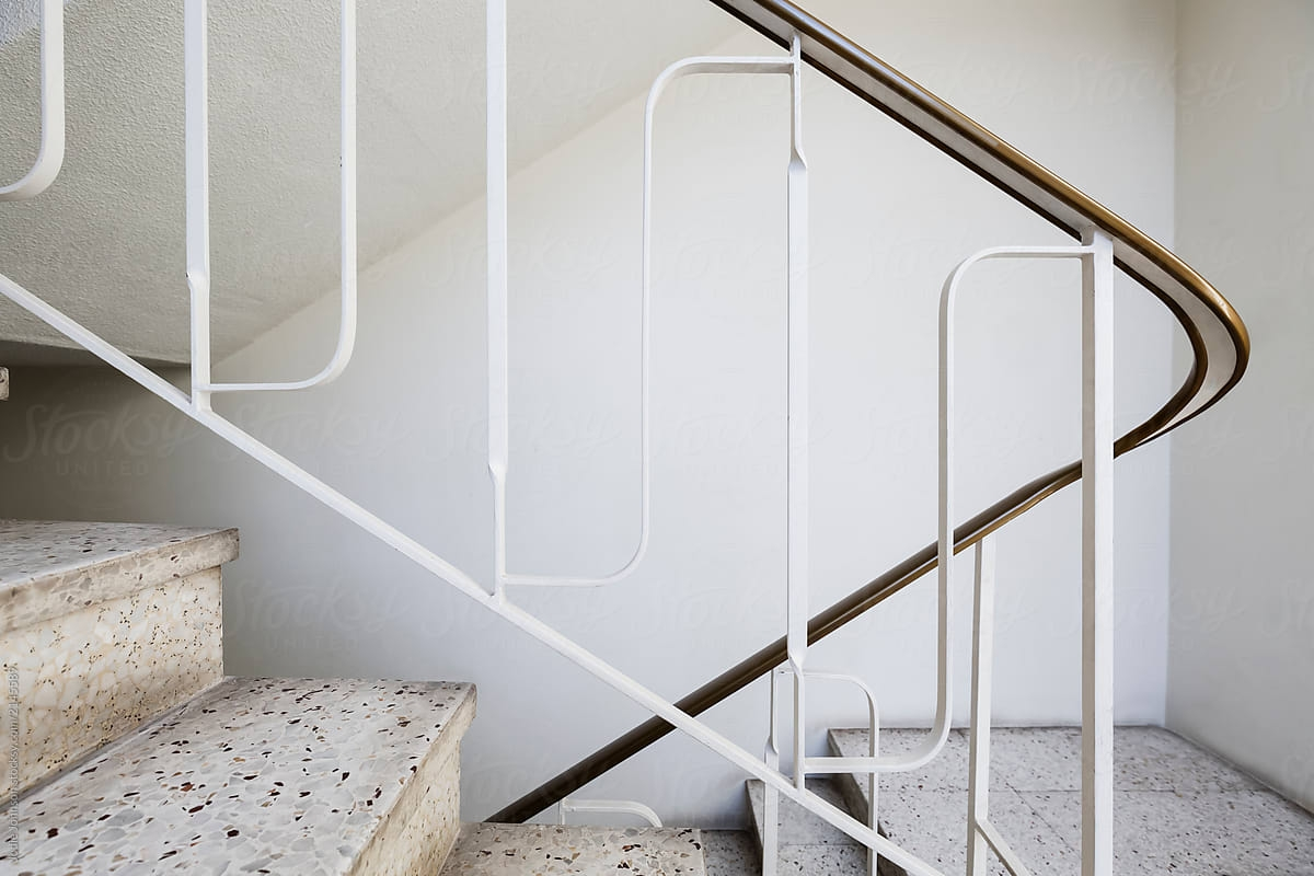 Mid Century Modern Apartment Stair By Jodie Johnson Retro | Mid Century Modern Stair Handrail | Wrought Iron | Basement | Bannister | Modern Style | Contemporary Curved Staircase