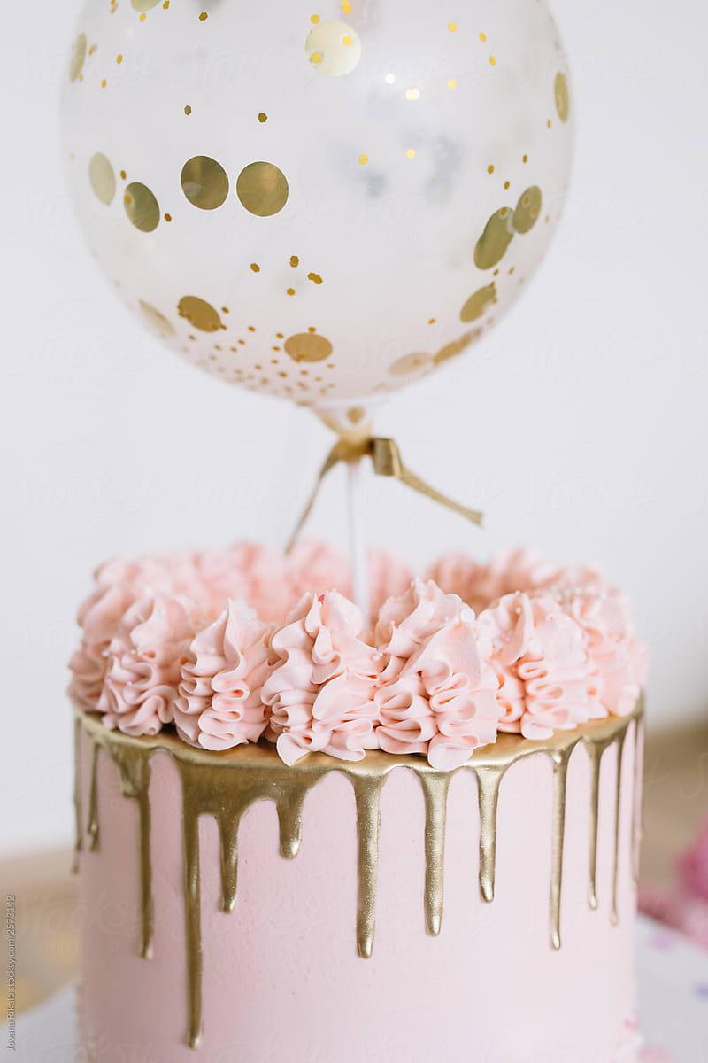 Pastel Birthday Cake Balloons And Flowers By Jovana Rikalo Birthday Decor