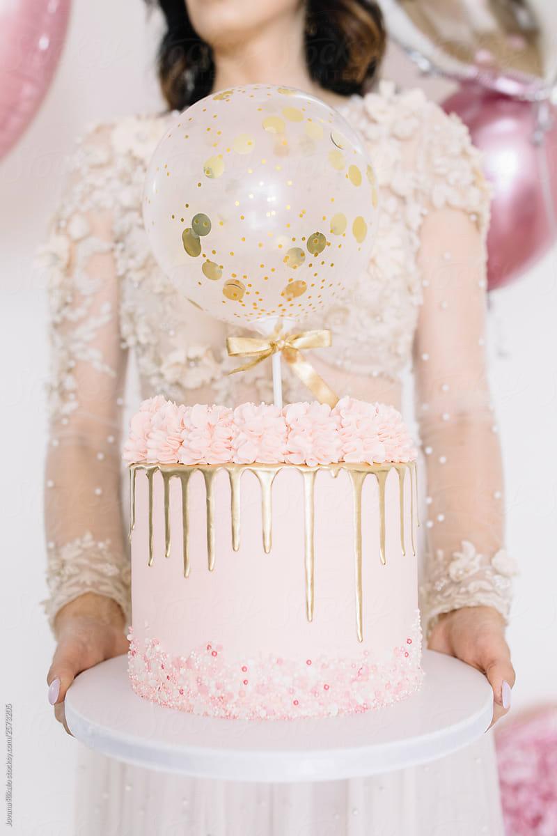 Young Beautiful Woman Holding Birthday Cake By Jovana Rikalo Birthday Woman