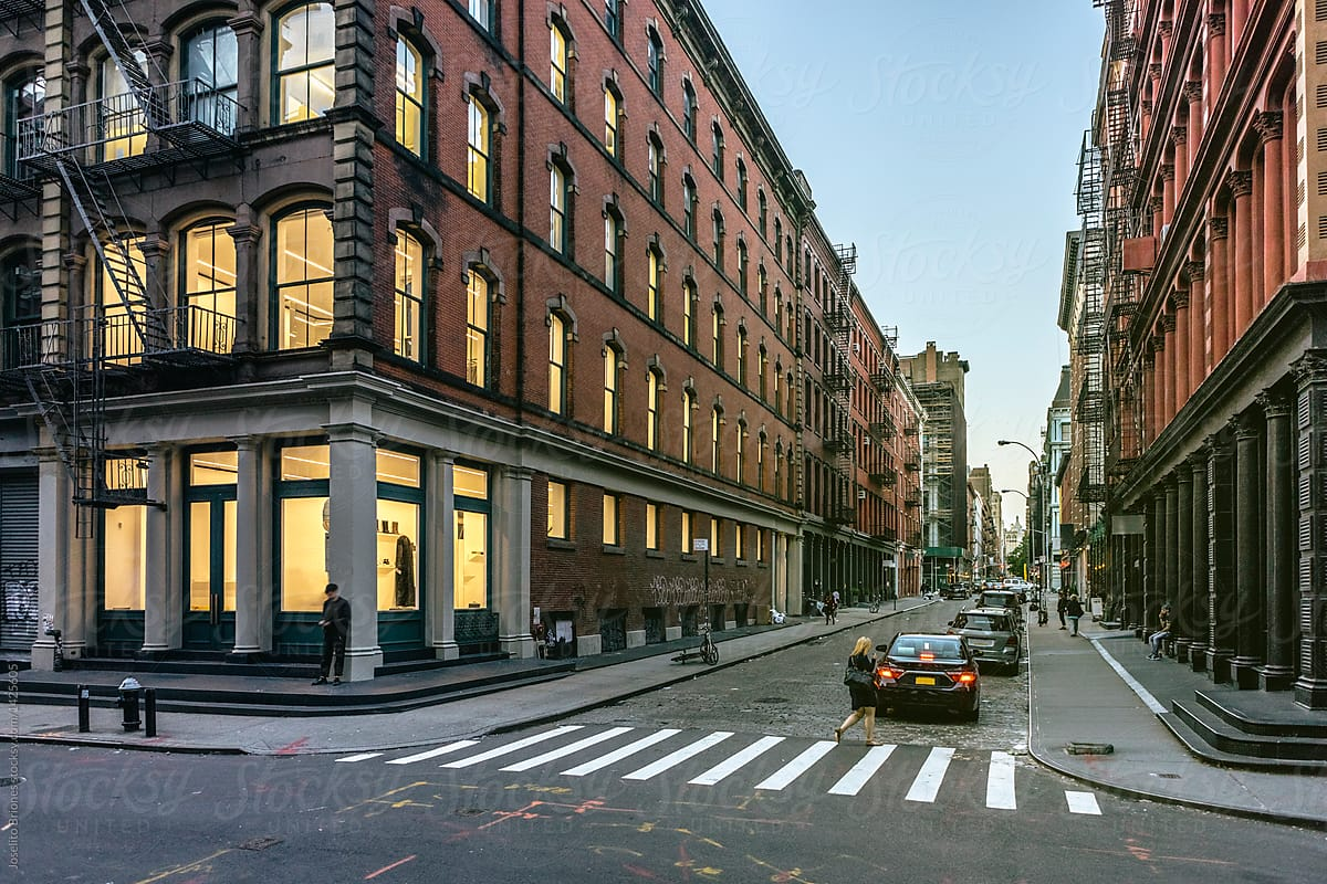 Street View of SOHO Fashion District of New York City at Sunset by Joselito Briones - Stocksy United