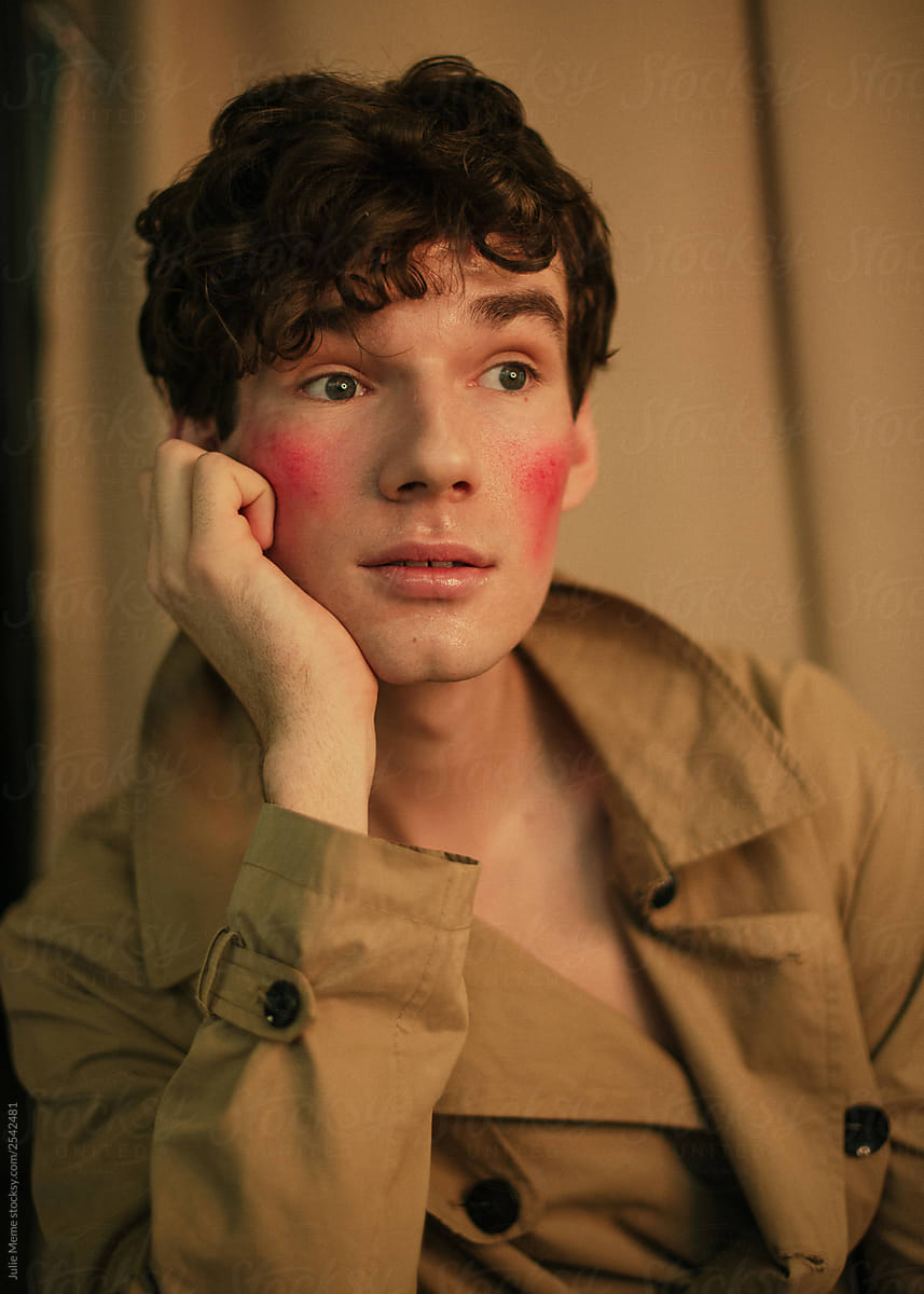 The Portrait Of The Curly Guy With The Red Cheeks In The Coat