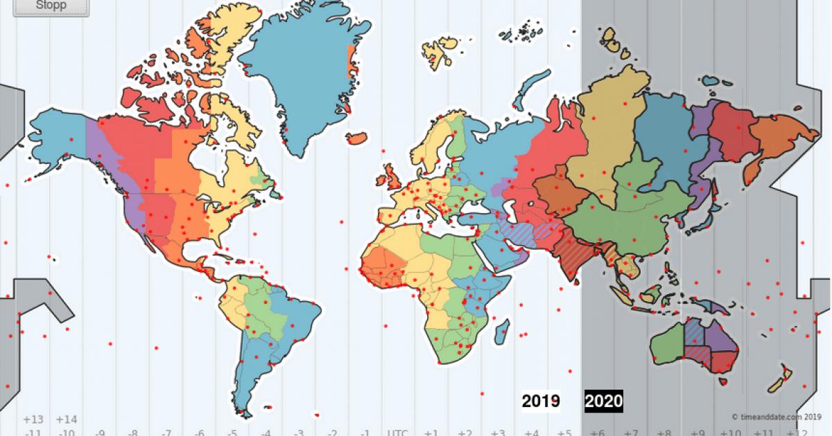 Silvester Weltkarte Neujahr 2022 Weltweit