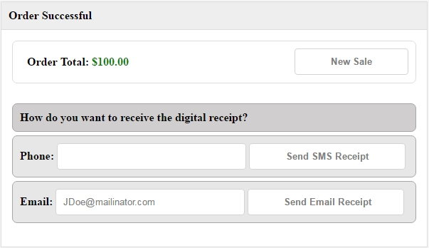 Send the receipt by email or text message.