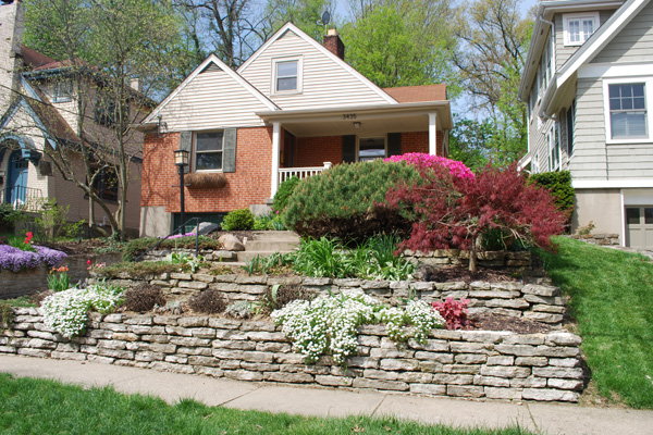 Terraced front yard with flowers