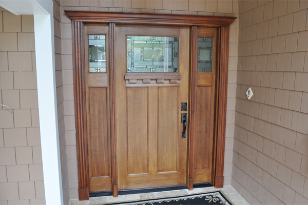Fiberglass entry door on a home