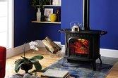 Blue wood-burning stove by Harman Stove Company
