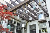 Lanterns hung over a home deck