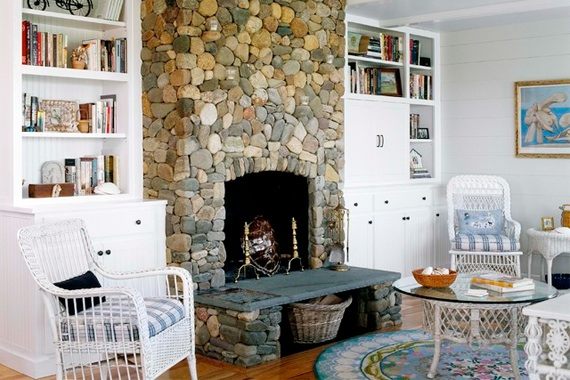 stone fireplace with slate hearth