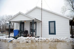 Sandbags protecting a home in Biscoe, Arkansas