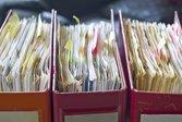 Tax paperwork in binders