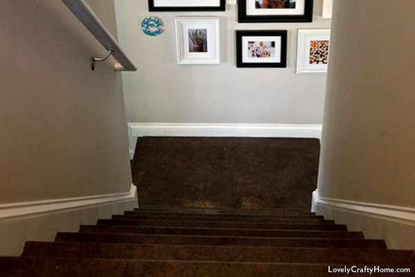 Stairway with decoupaged paper bags