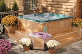 Spa on the deck of a house