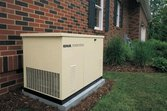Standby generator outside a house
