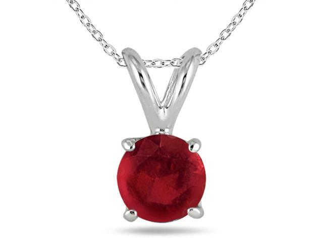 All-Natural Genuine 5 Mm, Round Ruby Pendant Set In 14k