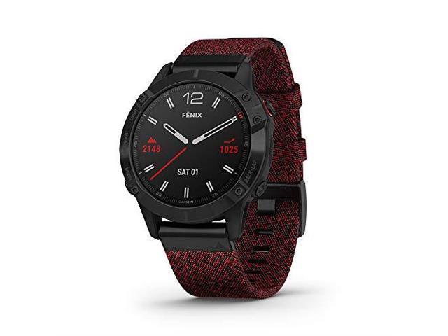 Garmin Fenix 6 Sapphire, Premium Multisport GPS Watch, - Black DLC with Heathered Red Nylon Band - (010-02158-16)