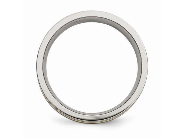Titanium 14k Yellow Inlay Flat 7mm Engravable Brushed And