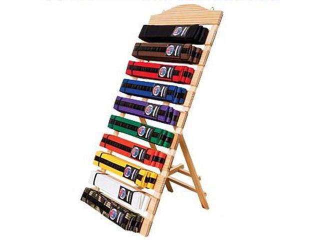 free standing ten level martial arts karate taekwondo belt display rack holder