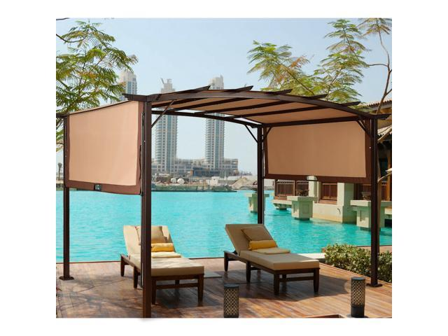 12 x 9 pergola kit metal frame gazebo canopy cover patio furniture shelter