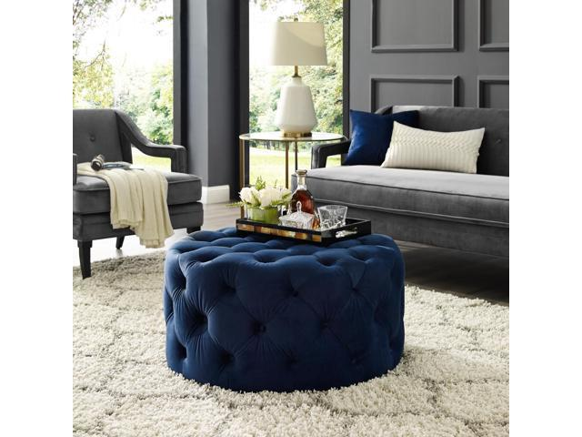 navy blue tufted ottoman coffee table