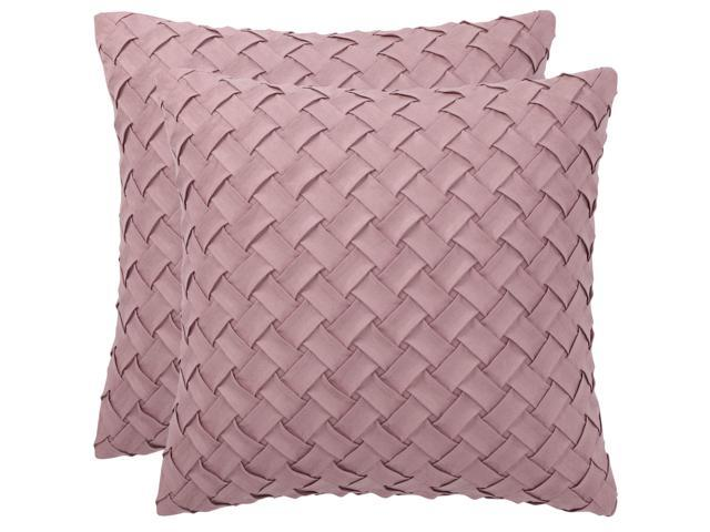 throw pillow cover stylish basket weave pattern soft solid decorative pillow case home decor design cushion cover for sofa bedroom car pink