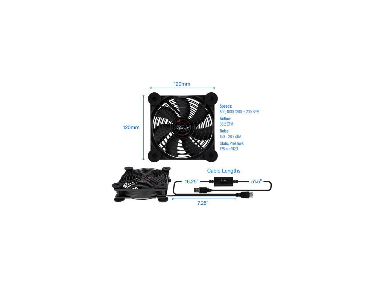 Rosewill 120mm External Usb Fan With Adjustable Controller