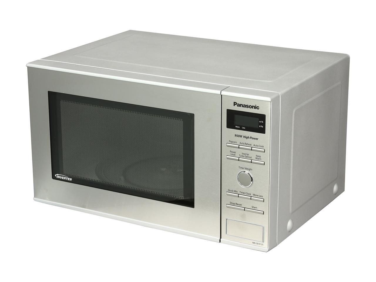 panasonic nn sd372s stainless 950w 0 8 cu ft stainless steel countertop microwave with inverter technology