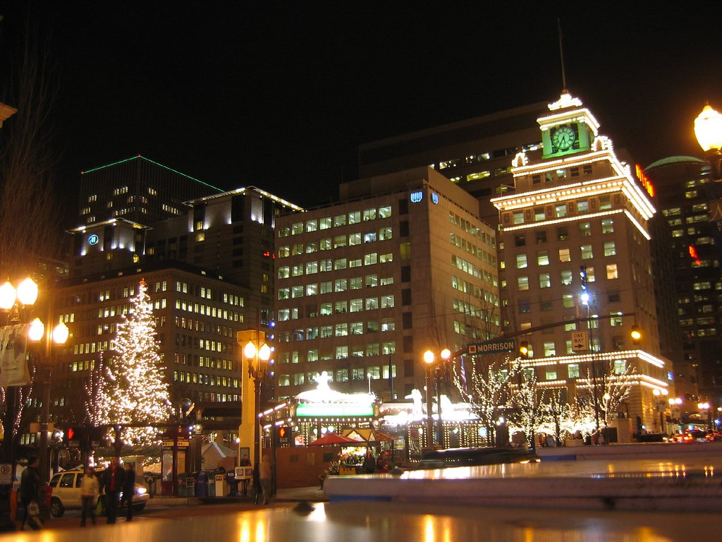 Downtown Portland Lights Pioneer Square In Downtown