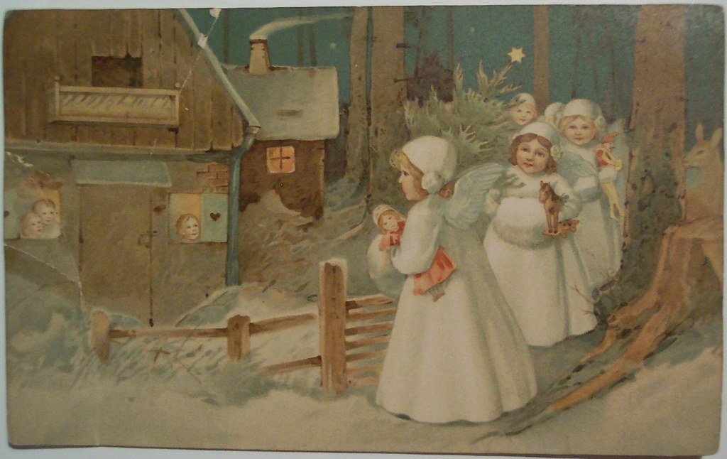 Vintage Christmas Angels Postcard Dave Flickr