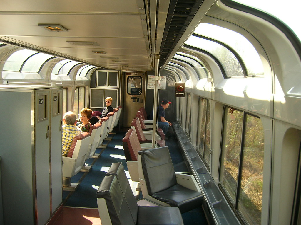Lounge Car Amtrak Looking Longways From Abou The Middle