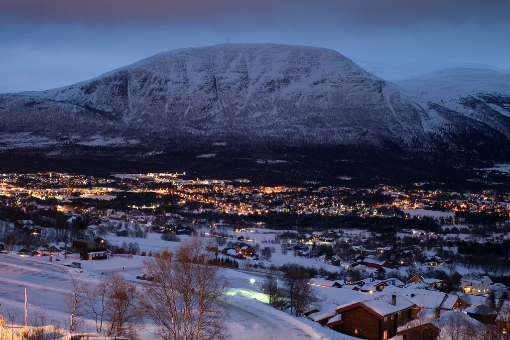 Oppdal By Night Taken From The Balcony Of Oppdal