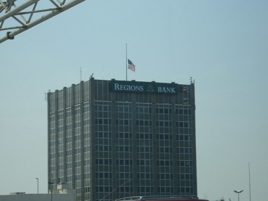 Hurricane Katrina - Flag at Regions Bank in Mobile at Half-Staff