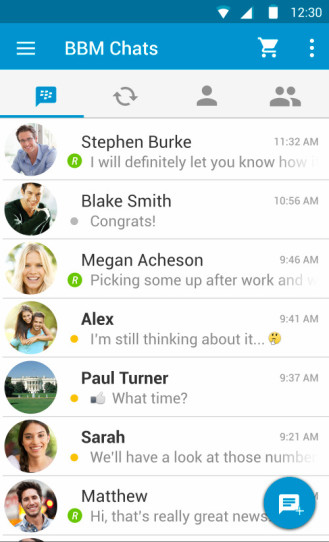 BlackBerry Messenger con Material Design para Android