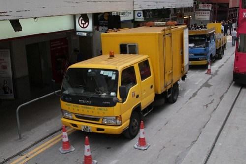 Hong Kong Tramways track maintenance truck at a work site