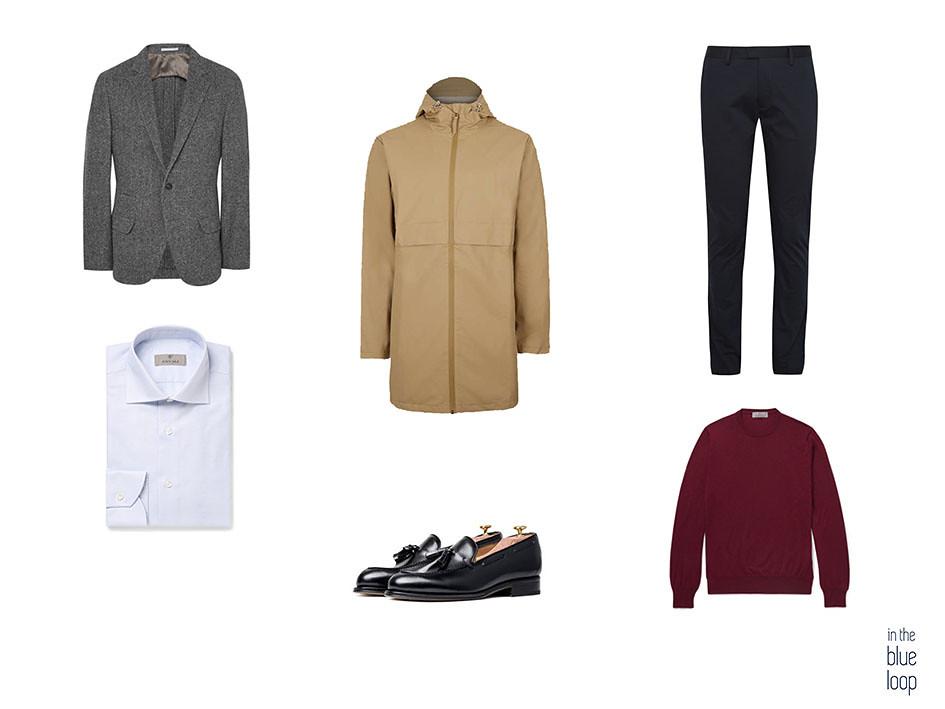 Combinar el chubasquero masculino con blazer, jersey, camisa, pantalón y zapatos masculinos