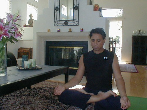 meditation in living room
