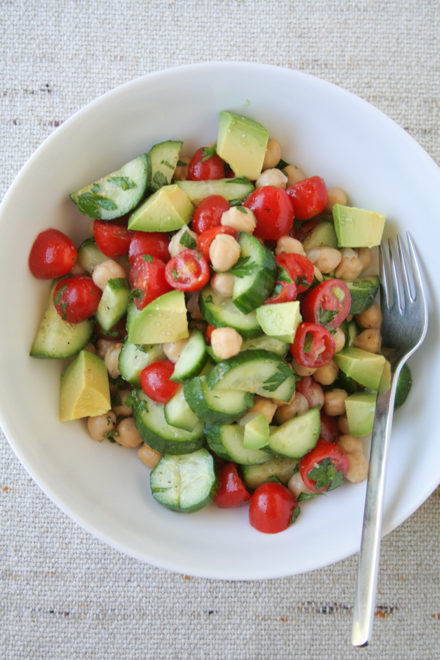 chickpea, cucumber, tomato and avocado salad [ inthiskitchen.com ]