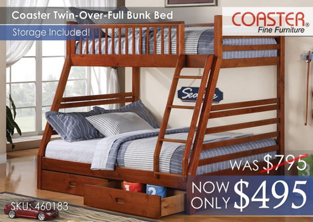 Coaster Youth Bunk Bed Twin Over Full 460183