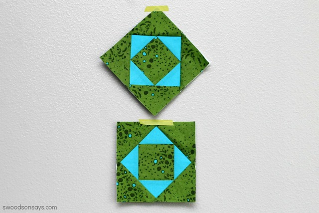Green and blue quilt blocks