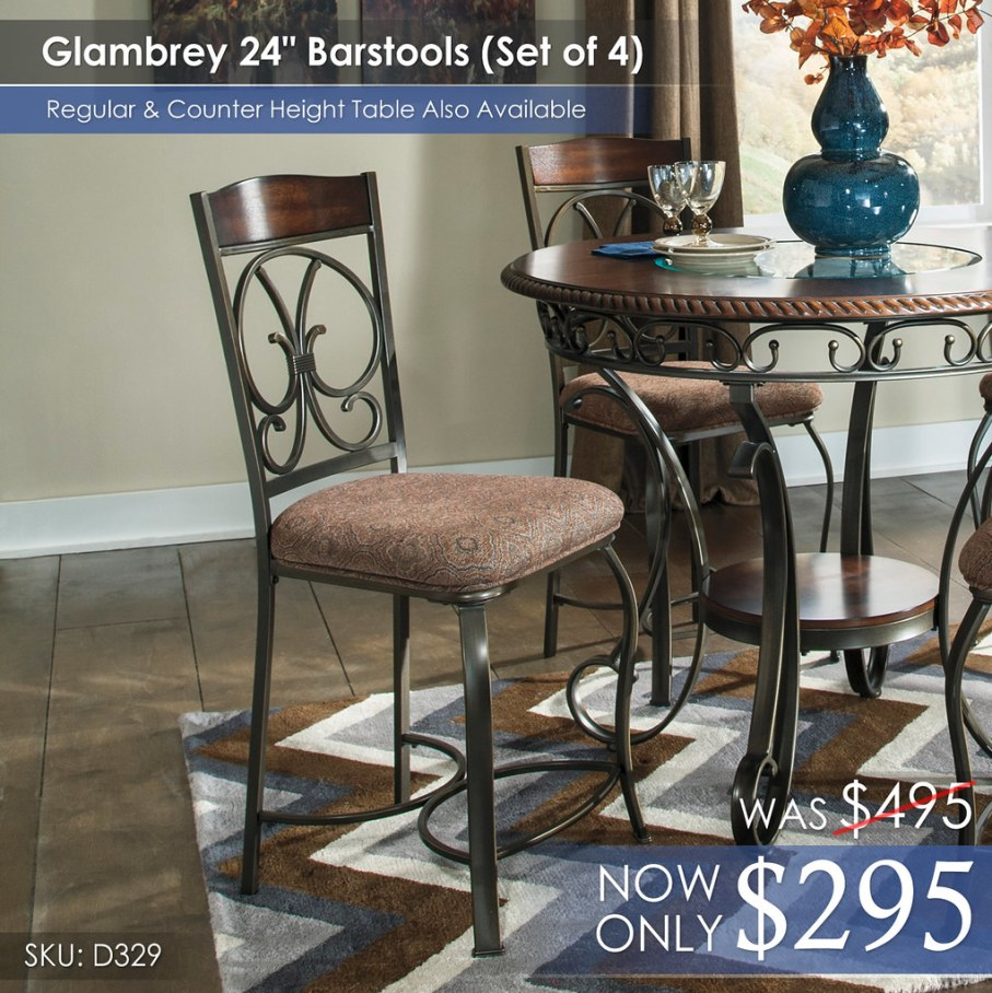 Set of 4 Glambrey 24in Barstools D329